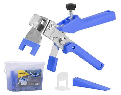 Fliesen Nivelliersystem 1.5mm | 3-12mm Nivelierset Fliesen Zubehör | 100 Laschen | 100 Fliesen Keile | Zange | Fliesen Verlegehilfe für einfachen Verlegen von Fliesen | Fliesenleger Werkzeug