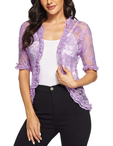 ELESOL Floral Bolero Jackets Womens Open Front Cardigan Sheer Lace Bolero Evening Dress Shrug and Wraps Light Purple M