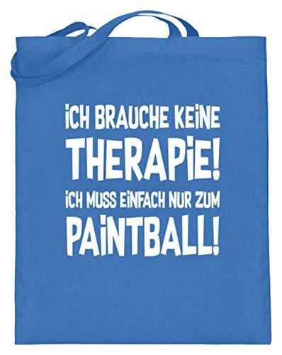 shirt-o-magic Paintball Softair: Therapie? Lieber Paintball! - Jutebeutel (mit langen Henkeln) -38cm-42cm-Blau