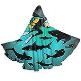 Merle House Capa de Halloween Ilustración Divertida de tiburón y Buzo Disfraz de Halloween Adultos Niños Disfraz de Vampiresa Oscura Disfraz, para La Noche de Halloween, Carnaval