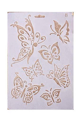 WopenJucy Plantillas con diferentes patrones para pintar con aerógrafo, para manualidades y decoración Patrón de mariposa