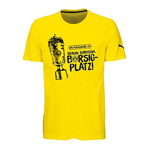 Borussia Dortmund BVB T-Shirt ZUM DFB-POKALFINALE 2017 kompatibel + Sticker Dortmund Forever, Tshirt (M)