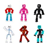 Zing Stikbot 6 Pack, Set of 6 Stikbot Collectable Action Figures, Create Stop Motion Animation