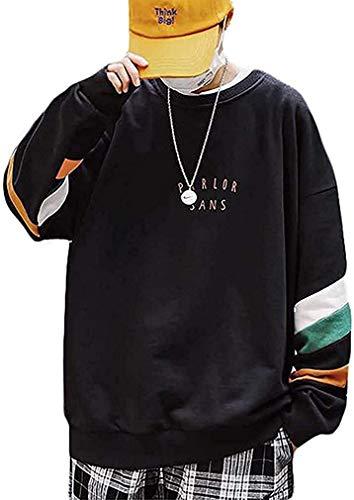 [ Smaids x Smile (スマイズ スマイル) ] トレーナー ゆったり クルーネック トップス カットソー シンプル 下 薄手 バイザー 帽子 シック シルク 上着 ピンク スーザ パンプス パンツのみ ポケット 2人 七分袖 トレンド 原宿 マウンテン ジップ スリム服 オオキイ 大きい ゴシック ブイ フットボール ギフト 丈短 ダボタボ 和 メンズ (ブラック, XL)