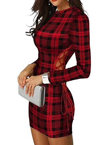 CHICME Damen Plaid Langarm Bodycon Kleid Elegant Spitzen Quadratischer Hals Minikleid Frauen Sexy Figurbetontes Kleid #6 Rot S