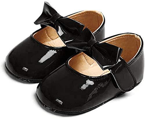 Zapatos Recien Nacido Antideslizante Bailarinas Princesa Bowknot Bebé Niñas Negro 6-12 Meses