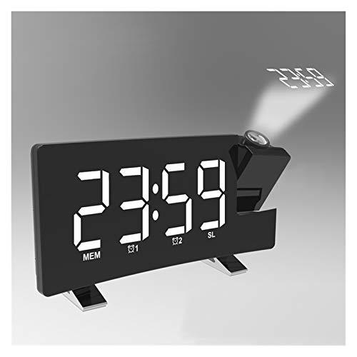SASCD Proyección de Alarma Reloj Digital Pantalla de Techo de 180 Grados Proyector Dimmer Radio Batería Copia de Seguridad (Color : Blackbody White Word)