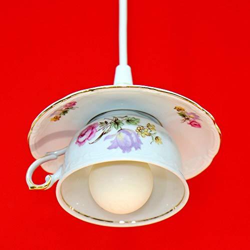 Upcycling-Tassenlampe, Vintage-Lampe aus Kaffeetasse, Boho Geschirrlampe, Küchenlampe aus Geschirr, Landhauslampe
