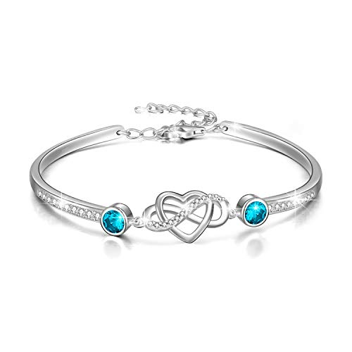 Infinity Bracelet Sterling Silver Love Heart Adjustable Bangle Bracelet with Birthstone Crystals, Friendship Wedding Anniversary Birthday Gifts for Her Women Wife Girlfriend Mum