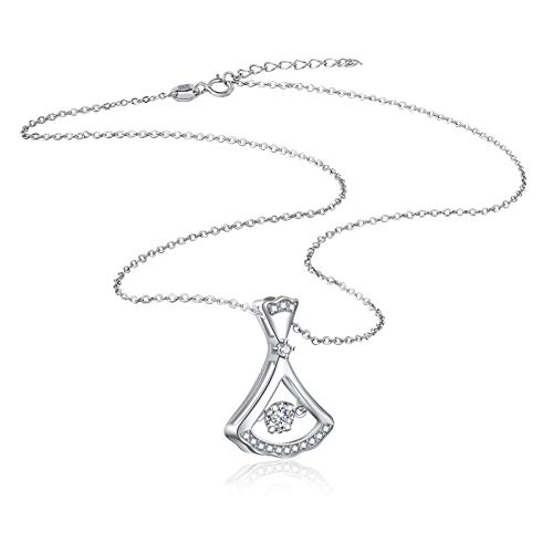 JKBDH 925 Sterling Silber kurzen Rock Damen schillernden AAA Zirkon Anhänger kleinen Schaukel Rock Kurze Halskette Schmuck
