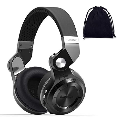 Bluedio Kabellose Bluetooth-Kopfhörer, extra Bass, faltbar, Over-Ear-Kopfhörer mit Mikrofon/Micro-SD-Kartenslot/verkabelt/unterstützt Amazon Web-Services für Handys/PC/TV (T2 Plus Superior, Schwarz)