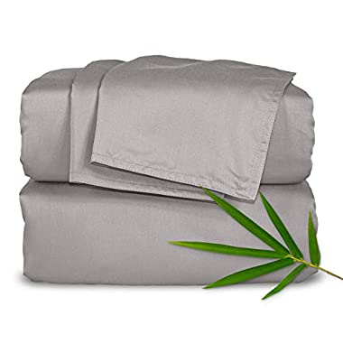Pure Bamboo Sheets - Queen Size Bed Sheets 4pc Set - 100% Organic Bamboo - Incredibly Soft - Fits Up to 16  Mattress - 1 Fitted Sheet, 1 Flat Sheet, 2 Pillowcases (Queen, Silver Pearl)