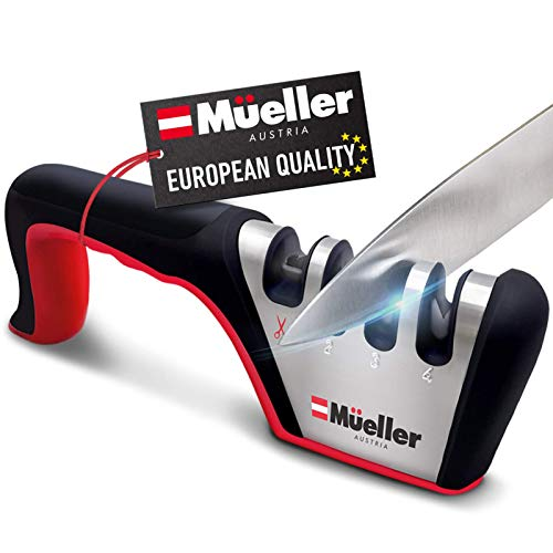 Mueller Original Premium Knife Sharpener Heavy Duty 4Stage Diamond Really Works for Ceramic and Steel Knives Scissors Easily Restores Dull to Sharp