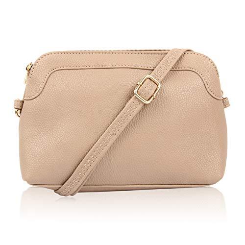 Classic Rectangle Vegan Leather Small Purse Handbag - Structured Camera Messenger Travel Shoulder Crossbody Strap Bag (Classic Dome Crossbody - Taupe)