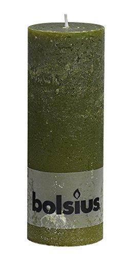 Rustikal 103868000370Stumpenkerze, Paraffin Wachs, Olive Grün