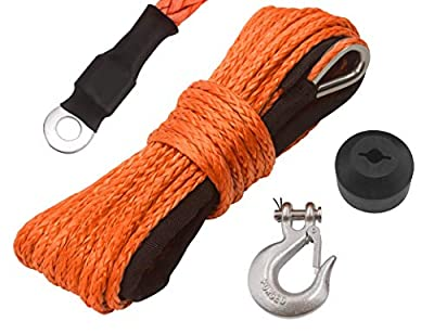 """N/N TYT 3/16"""" x 50' Synthetic Winch Rope Kit, 7000LBs Synthetic Winch Line Cable Rope with Black Protecing Sleeve, Snap Hook and Rubber Stopper for 4x4/ATV/UTV/Jeep(Orange)"""
