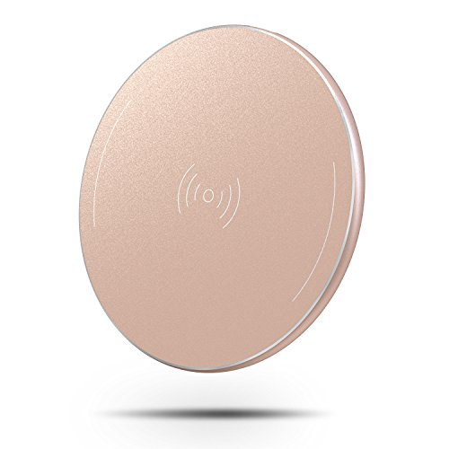 OMOTON Wireless Charger, Ultra-Slim Wireless Charging Pad with Anti-Slip Rubber for iPhone Xs Max/Xs/XR/X / 8/8 Plus, Galaxy Note 9 / S8 Plus / S7 Edge and All Qi-Enabled Devices, Rose Gold