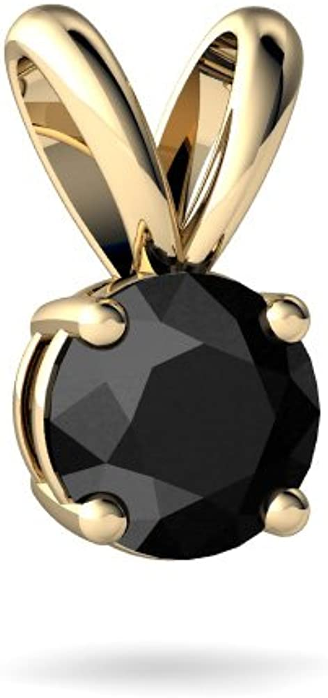 14kt Gold Black Onyx Fashion Round 5mm Pendant security Solitaire