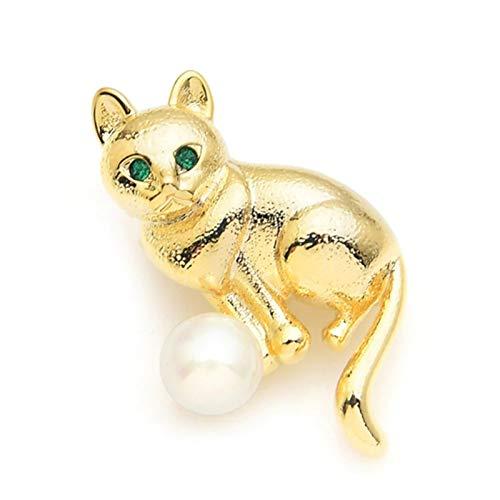 QYTSTORE Golden Cat Lady Pearl Green Rhinestone Broche, Tamaño: 3.5 * 2.2 cm, Ojo Gato Animal Ocio Fiesta Broche Regalo Regalo Broche Elegante y romántico