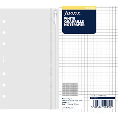 Filofax 133618 Personal Klarsichttasche mit Reißverschluss & Filofax 132905 Personal Notizpapier, kariert, weiß