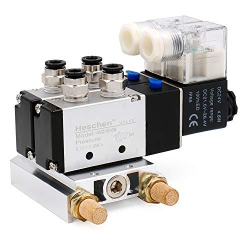 heschen Elektro-Pneumatische Twin Magnetventil 4V210–08DC 24V PT1/45Way 2Position vielfältige Boden Schalldämpfer Quick Fittings Set