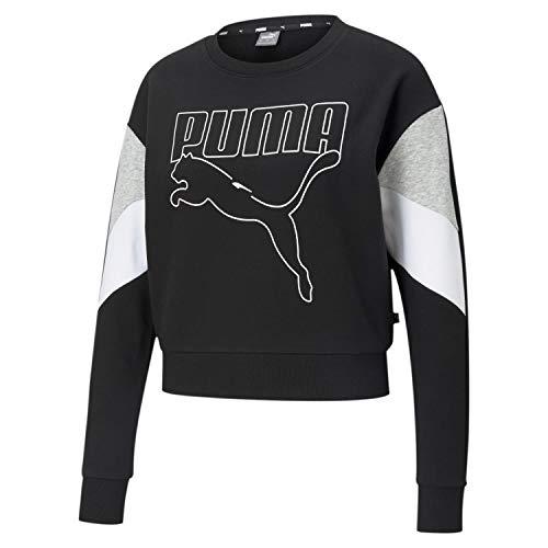 PUMHB|#Puma Rebel Crew TR, Felpa Donna, Puma Black, L