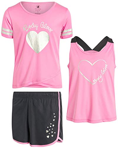Body Glove Girls Active Short Set with Matching Tank Top and T-Shirt (3-Piece), Size 7, Fuchsia Pink Hearts'