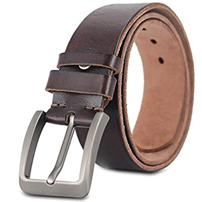 """Genuine Leather Classic Causal Dress Jean Belt for Men Packed with Gift Box (40""""-waist size 39"""", Dark Coffee-one)"""