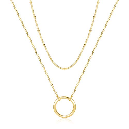 Fettero Layered Necklace Gold Satellite Chain Choker Karma Open Circle Hammered Round Ring Pendant Dainty 14K Gold Plated Minimalist Simple Boho for Women Jewelry Mother's Gift