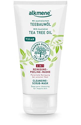 alkmene Teebaumöl 3in1 Reinigung Peeling Maske - Anti Pickel, Hautunreinheiten & Rötungen - vegane Gesichtspflege ohne Silikone, Parabene & Mineralöl - Gesichtsreinigung (1x 150 ml)