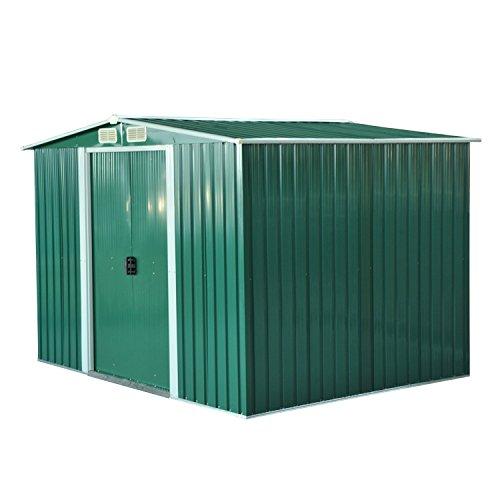 Outsunny Cobertizo Metálica Tipo Caseta de Jardín Terrazas Galvanizado Almacén para Herramientas Jardinería 258x206x178 cm