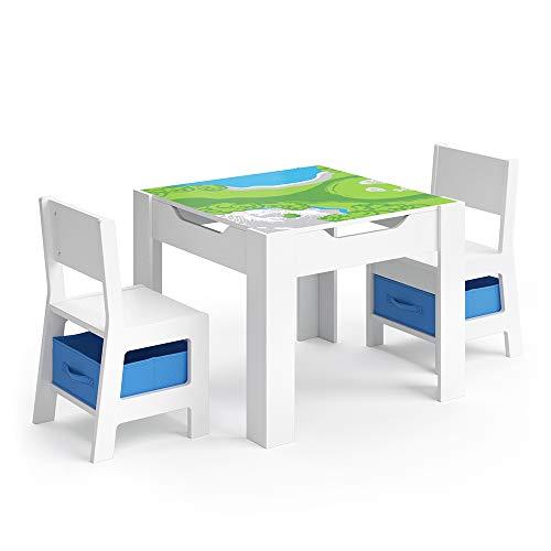 VICCO Kindersitzgruppe STELLA Sitzgruppe für Kinder 2 Stühle Tisch Maltisch Holz (Blaue Boxen)
