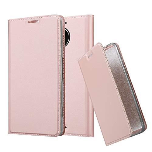 Cadorabo Hülle für Nokia Lumia 950 XL - Hülle in ROSÉ Gold – Handyhülle mit Standfunktion und Kartenfach im Metallic Look - Case Cover Schutzhülle Etui Tasche Book Klapp Style
