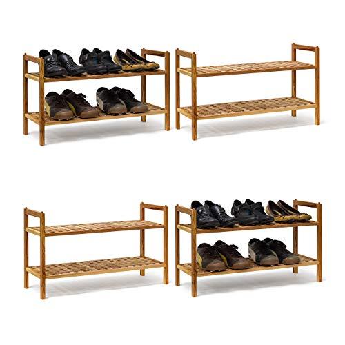 Relaxdays 4 x Schuhregal Walnuss im Set, Schuhaufbewahrung stapelbar, Schuhablage mit je 2 Etagen, offen, je 6 Paar Schuhe, Natur