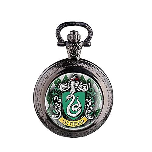 brujería Slytherin Escuela Serpiente Colgante Collar cúpula Reloj de Bolsillo de Cuarzo Hombres...