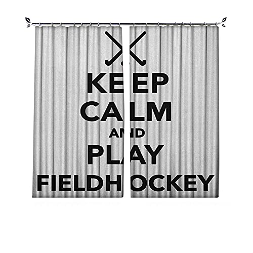 90% cortinas opacas de hockey, frase «Keep Calm and Play Fieldhockey» en blanco y negro con palos y bola icono, cortinas plisadas para dormitorio, sala de estar, 172 x 163 cm, color negro y blanco