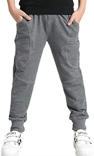 BINPAW Kids Cotton Pull On Active Sports Basic Jogger Sweat Pants for Little Boys & Big Boys, Grey, Age 7T-8T (7-8 Years) = Tag 140