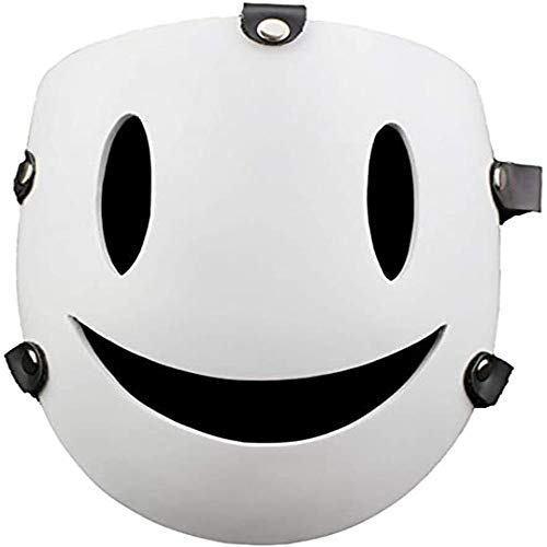 High-rise Invasion Anime Sniper Resin White Smiley Mask Halloween Cosplay Character Party Bar Costume Props Sniper Mask (Latex)
