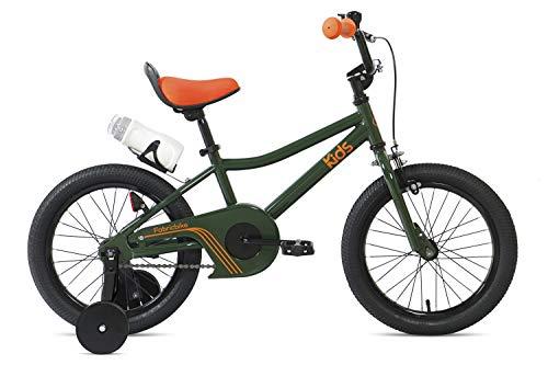 """FabricBike Kids - Bicicleta con Pedales para niño y niña, Ruedines de Entrenamiento Desmontables, Frenos, Ruedas 12 y 16 Pulgadas, 4 Colores (Amazon Green, 16"""": 3-7 Años (Estatura 96cm - 120cm))"""