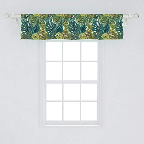 SHANNON Throw 42' X 18' Leaves Window Valance,Tropical Hawaiian Rainforest Palm and Monstera,Curtain Valance for Kitchen Bedroom Decor with Rod Pocket,Olive Green Dark Teal