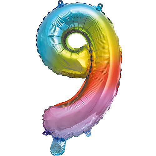 Procos 92732 - Palloncino in pellicola con numero arcobaleno, dimensioni: 35 cm, elio, aria, arcobaleno, compleanno, decorazione, festa, multicolore