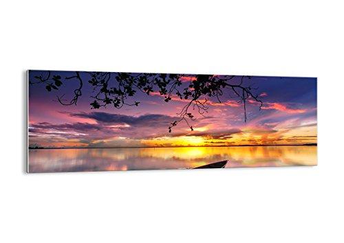 Quadro su vetro - Elemento unico - Barca tramonto lago cielo - 140x50cm - Pronto da appendere - Home Decor - Arte digitale - Quadri Moderni In Vetro - Stampe Da Parete - GAB140x50-2967