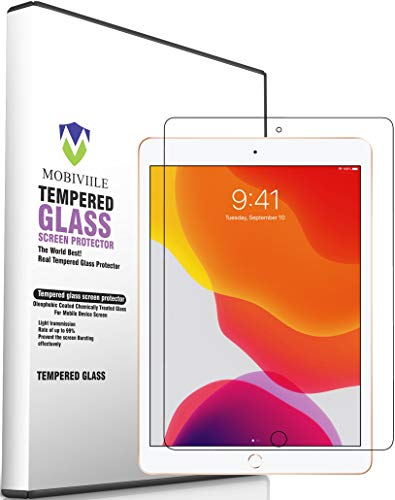 MOBIVIILE® Screen Protector Compatible with Apple iPad 10.2 (7th Generation, 2019 Released),Tempered Glass with [9H Hardness][iPad Pencil Compatible][Scratch-Resistant]-Apple iPad 10.2