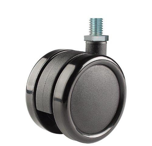 110 lb Capacity Range 7//16 Diameter x 1-3//8 Length Grip Ring Stem Twin Wheel Caster Solutions TWHN-50U-G24-BK 2 Diameter Nylon Wheel Hooded Non-Brake Caster