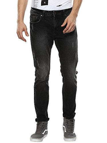 AMERICAN CREW Men's Slim Fit Black Spray Jeans - 36 (ACJN542-36)