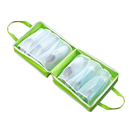 Bolsas de almacenamiento para zapatos, funda portátil con cordón a prueba de polvo, bolsa organizadora para zapatos, ahorra espacio, para viajes al aire libre, senderismo, viajes, verde