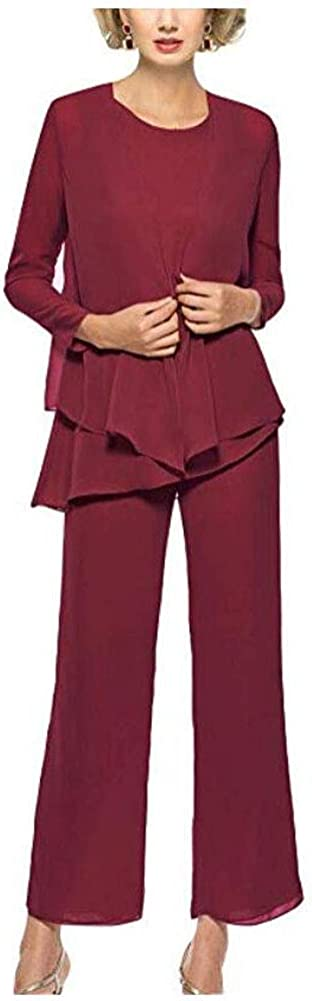 3 Pieces Chiffon Mother Pants Suits Women's Formal Evening Gowns Long Sleeves Wedding Outfit