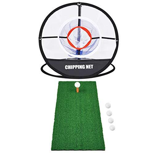 Elikliv Golf Chipping Mat and Net, 60x30cm Golf Hitting Mat With Golf Ball...
