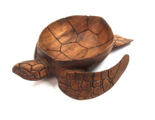 Hand Carved Mahogany Wood Nautical Turtle Bowl