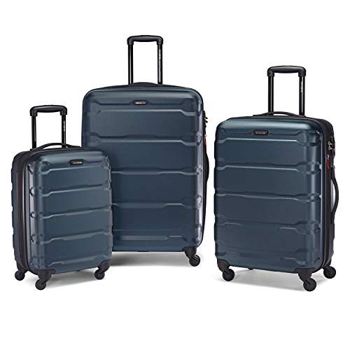 Samsonite Omni PC Hardside Expandable Luggage with Spinner Wheels, Teal, 3-Piece Set (20/24/28)